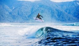 Jordy Lawler surfs in Fjord Land, New Zealand on the 29th April 2016