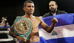 """Roman """"Chocolatito"""" Gonzalez poses for pictures during a media work out in New York, Tuesday, Oct. 13, 2015. Gonzales will fight Brian Viloria in New York on Oct. 17, at Madison Square Garden. (AP Photo/Seth Wenig)"""